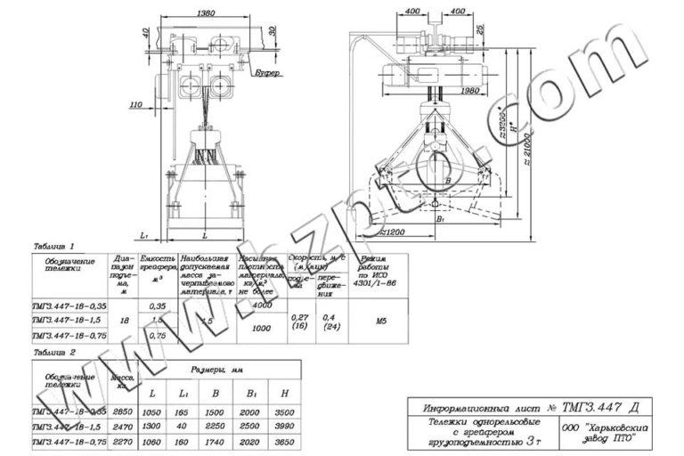 Тележка однорельсовая общего назначения грузоподъёмностью 3т ТМГ3.447 Д