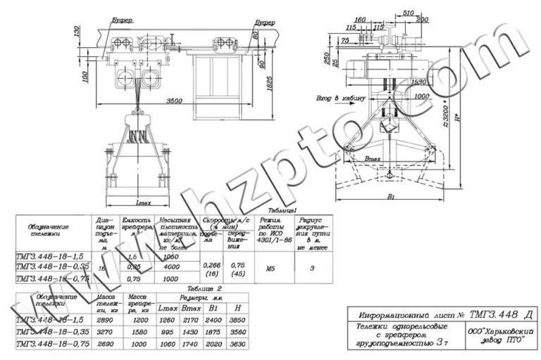 Тележка однорельсовая общего назначения грузоподъёмностью 3т ТМГ3.448 Д