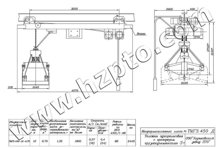 Тележка однорельсовая общего назначения грузоподъёмностью 3т ТМГ3.450 Д