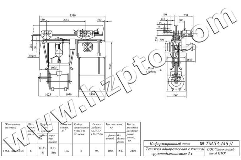 Тележка однорельсовая общего назначения грузоподъёмностью 3т ТМЛ3.446 Д